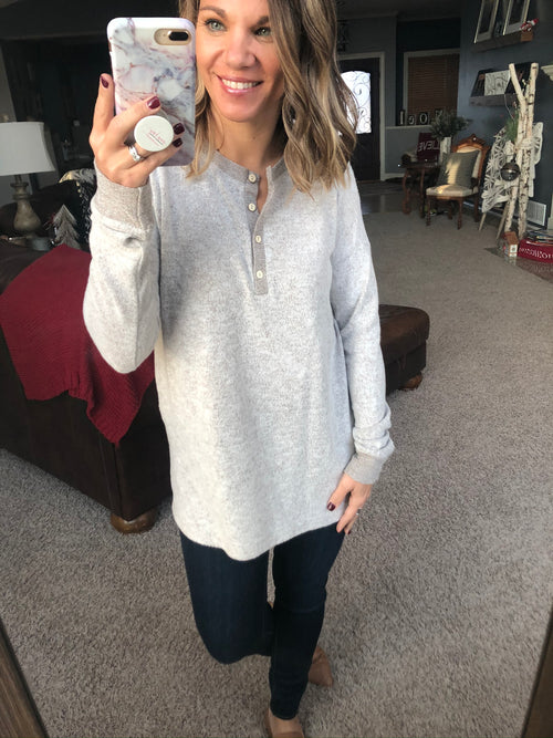 Family Tradition Brushed Fleece Henley Long Sleeve - Taupe