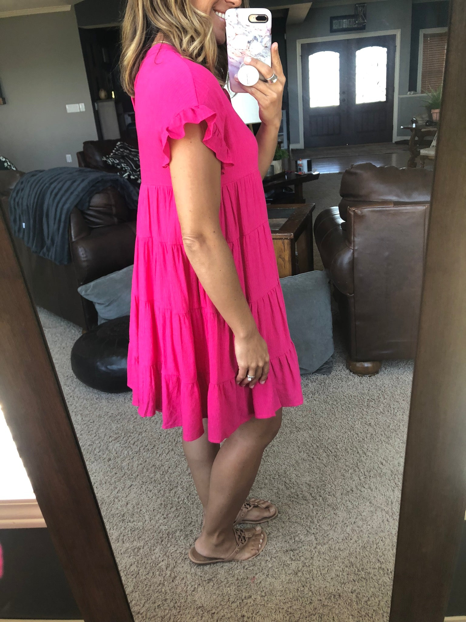 Time of Our Life Hot Pink Tiered Ruffle Dress
