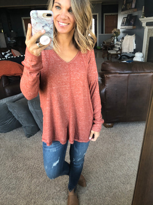 All Because of You Heather Long Sleeve- Rust