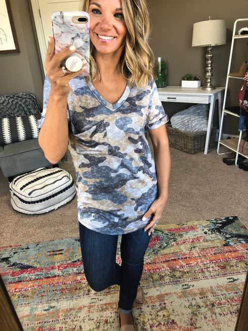 Get The Facts Tan and Blue Mix Camo V-Neck Tee with Pocket