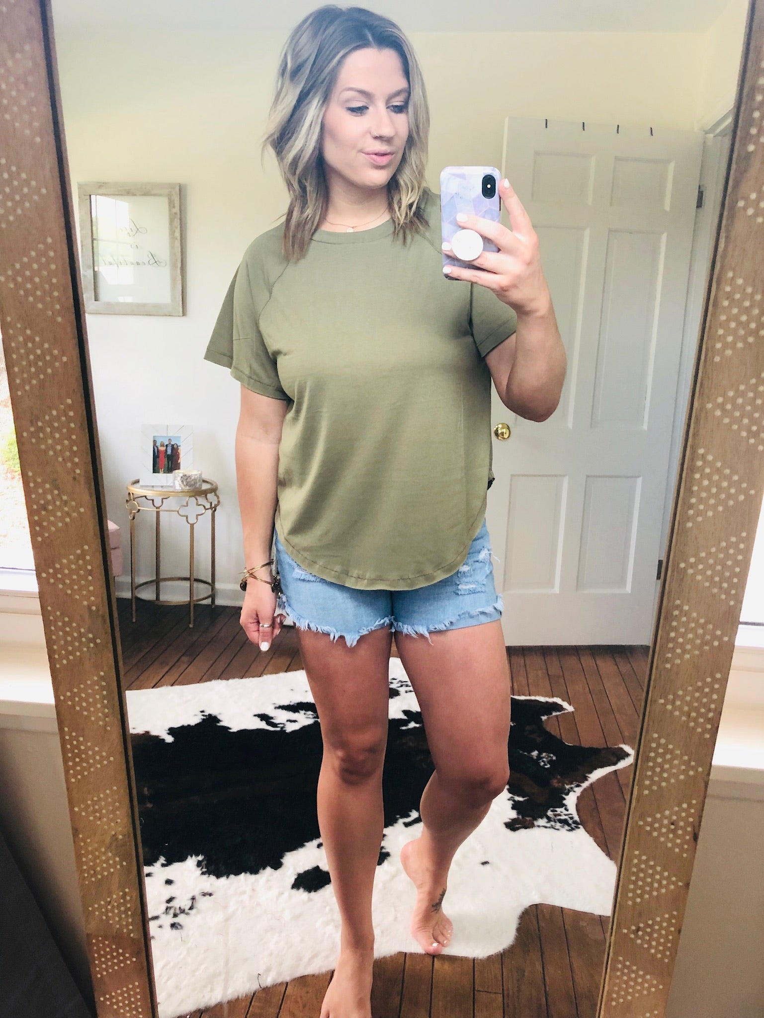 Life's A Journey Olive Raw Hem Tee