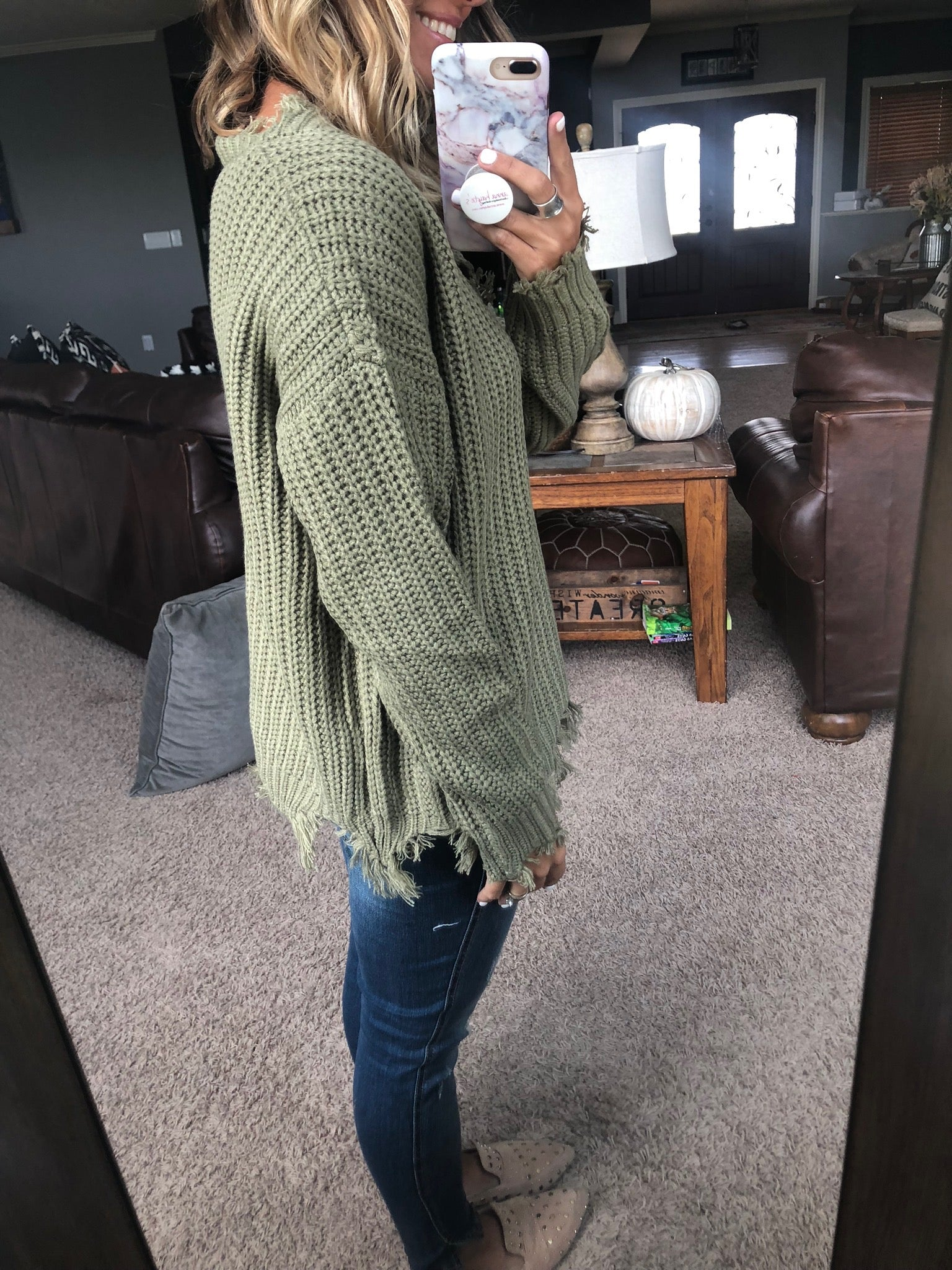 Olive Fall So Much V-Neck Distressed Sweater