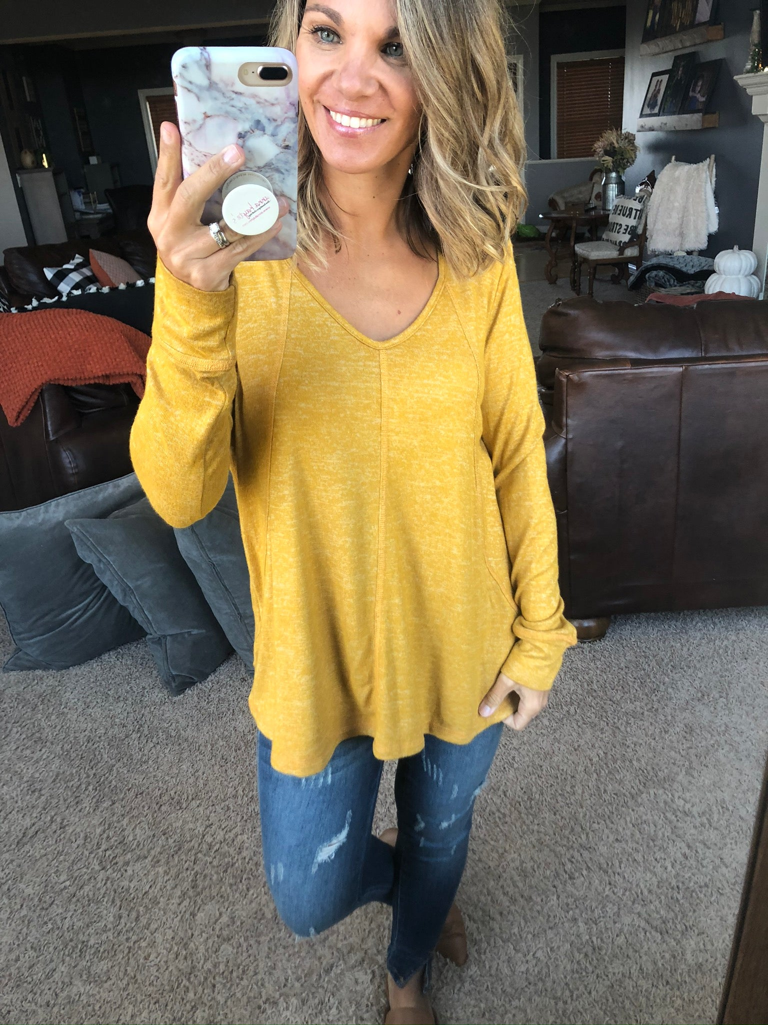 All Because of You Heather Long Sleeve- Mustard
