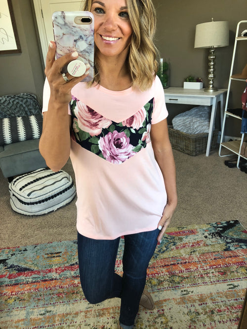 Field Of Flowers Pink Tee with Navy Floral Mix Chevron