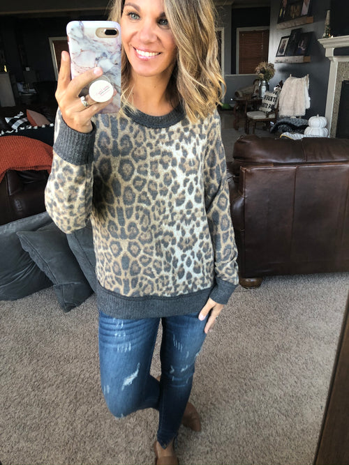 Wild Journey Crew Neck Brushed Fleece Long Sleeve- Leopard