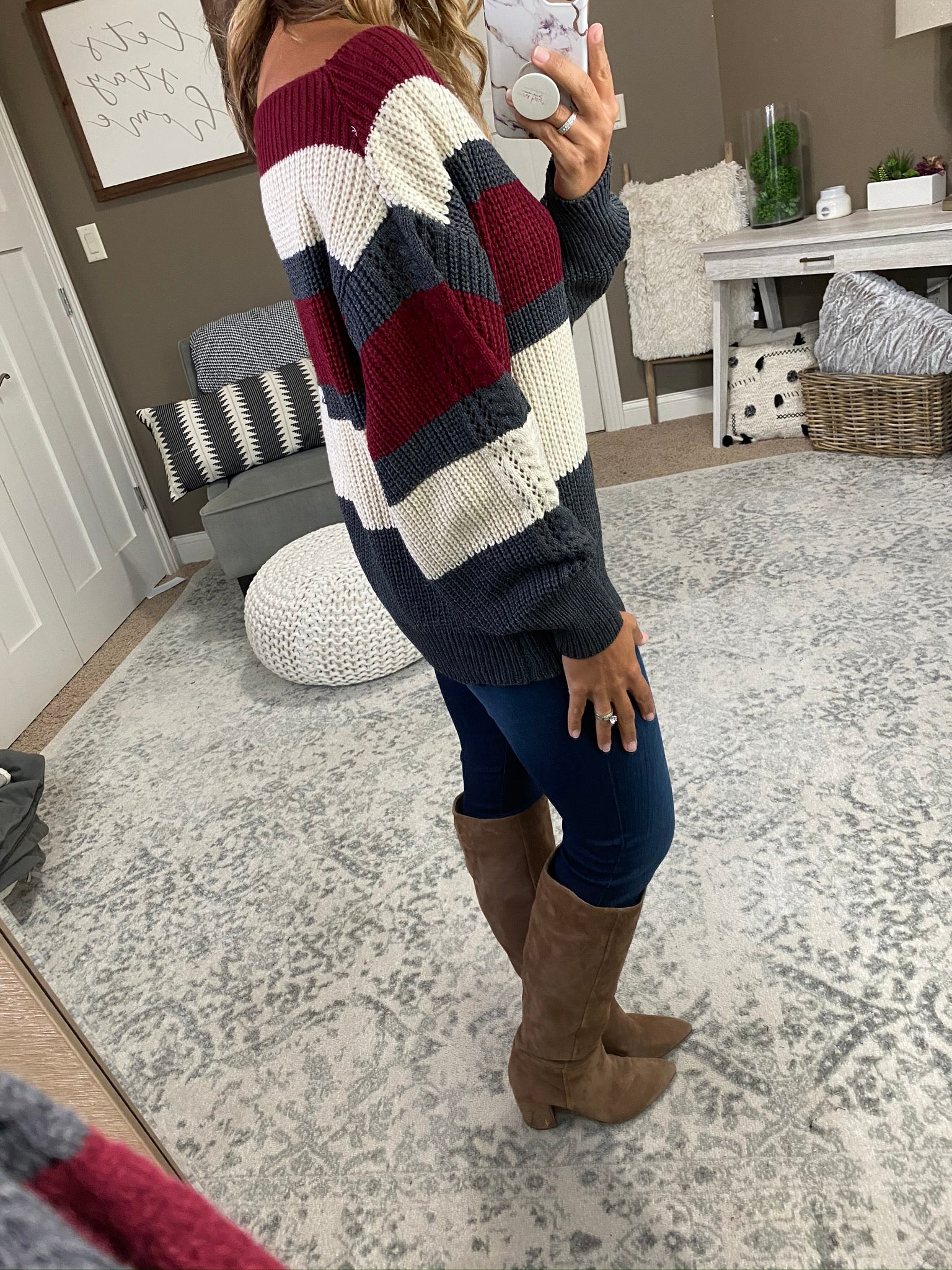 A Feeling Like This Burgundy, Grey and Cream Striped Off Shoulder Knit Sweater