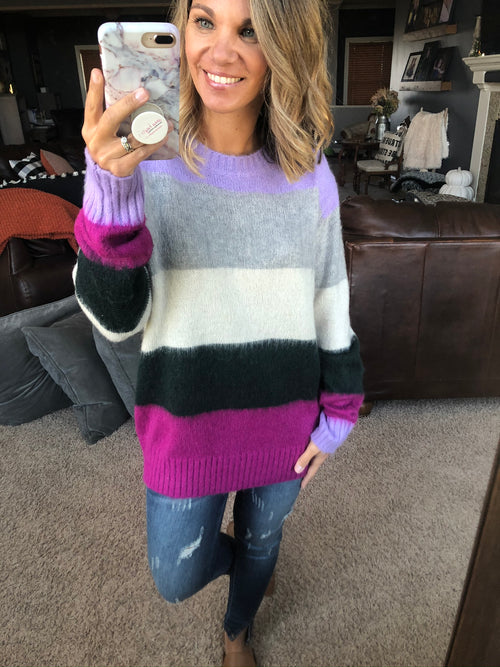 Whispering Shades Color Block Mohair Sweater- Multi