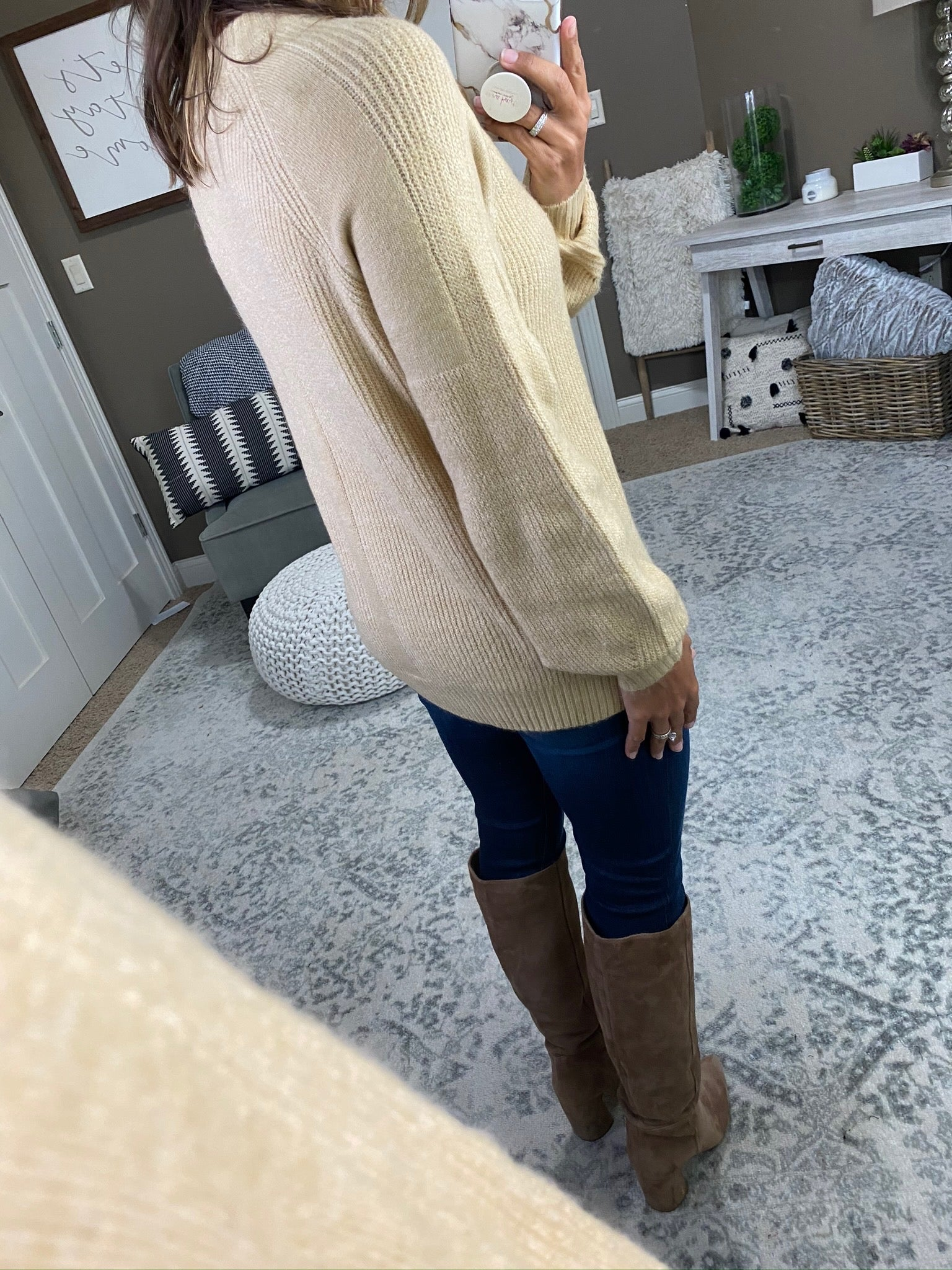 Never Too Late Wheat Ribbed Crew Neck Sweater