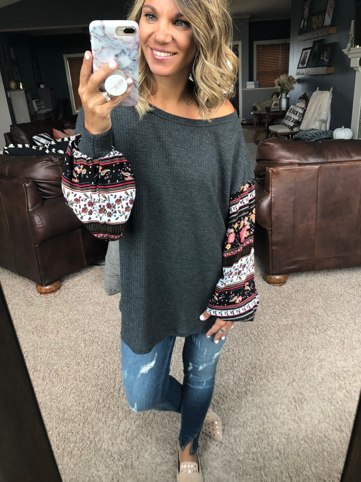 Make You Mine Charcoal Waffle Knit with Boho Sleeve