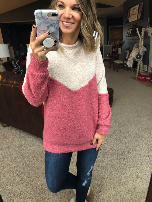 Among The Others Colorblock Sherpa Sweater - Mauve/Oatmeal