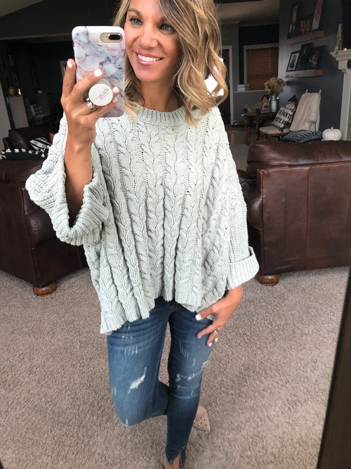 Pretty Heart Sage Cable Knit Oversized Sweater with Wide Crew Neck