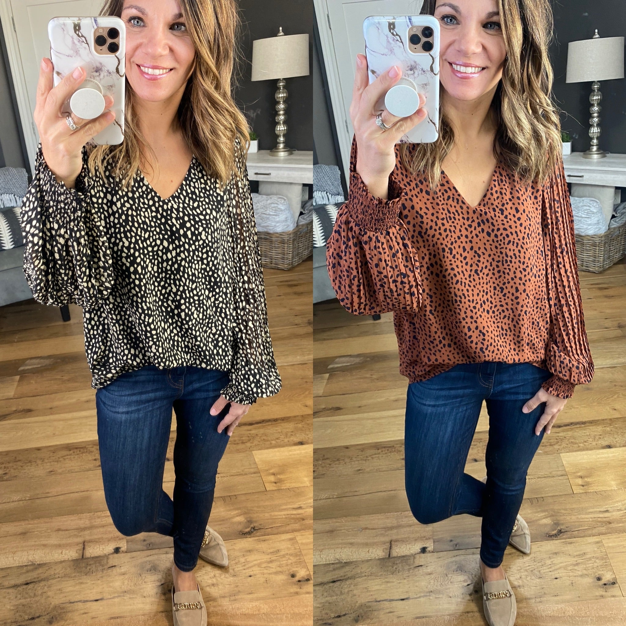You're Mine Spotted V-Neck Accordion Sleeve Blouse--Multiple Options
