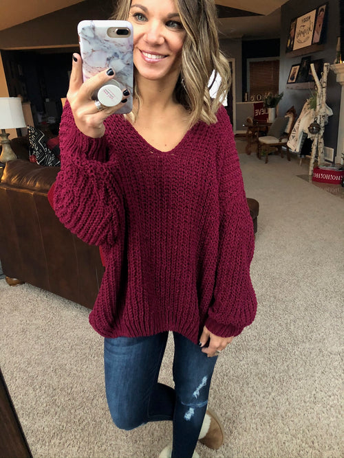 Almost Always Chenille Knit V-Neck Sweater- Burgundy