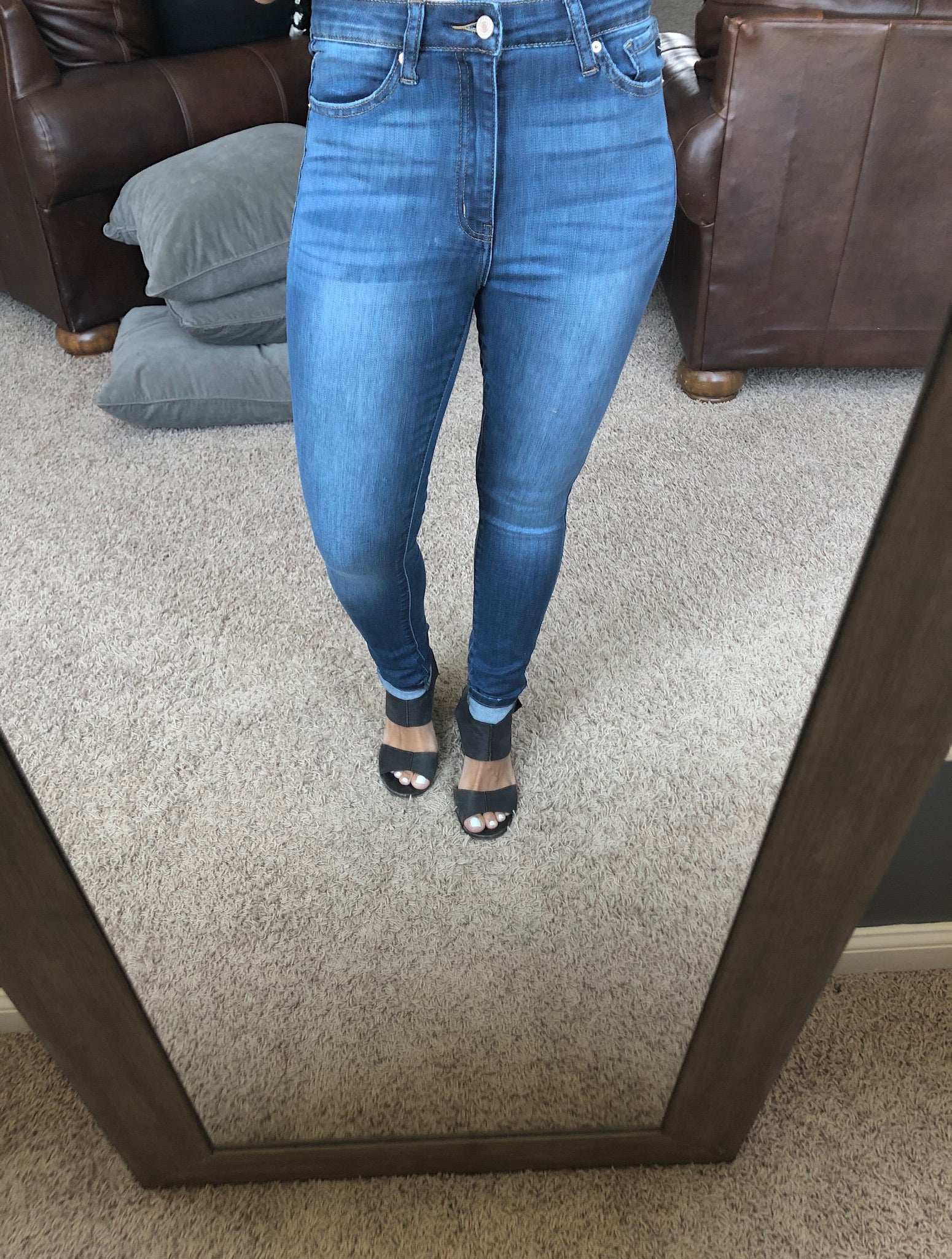 A Stolen Kiss Mid Wash Non Distressed High Rise Skinny Jean