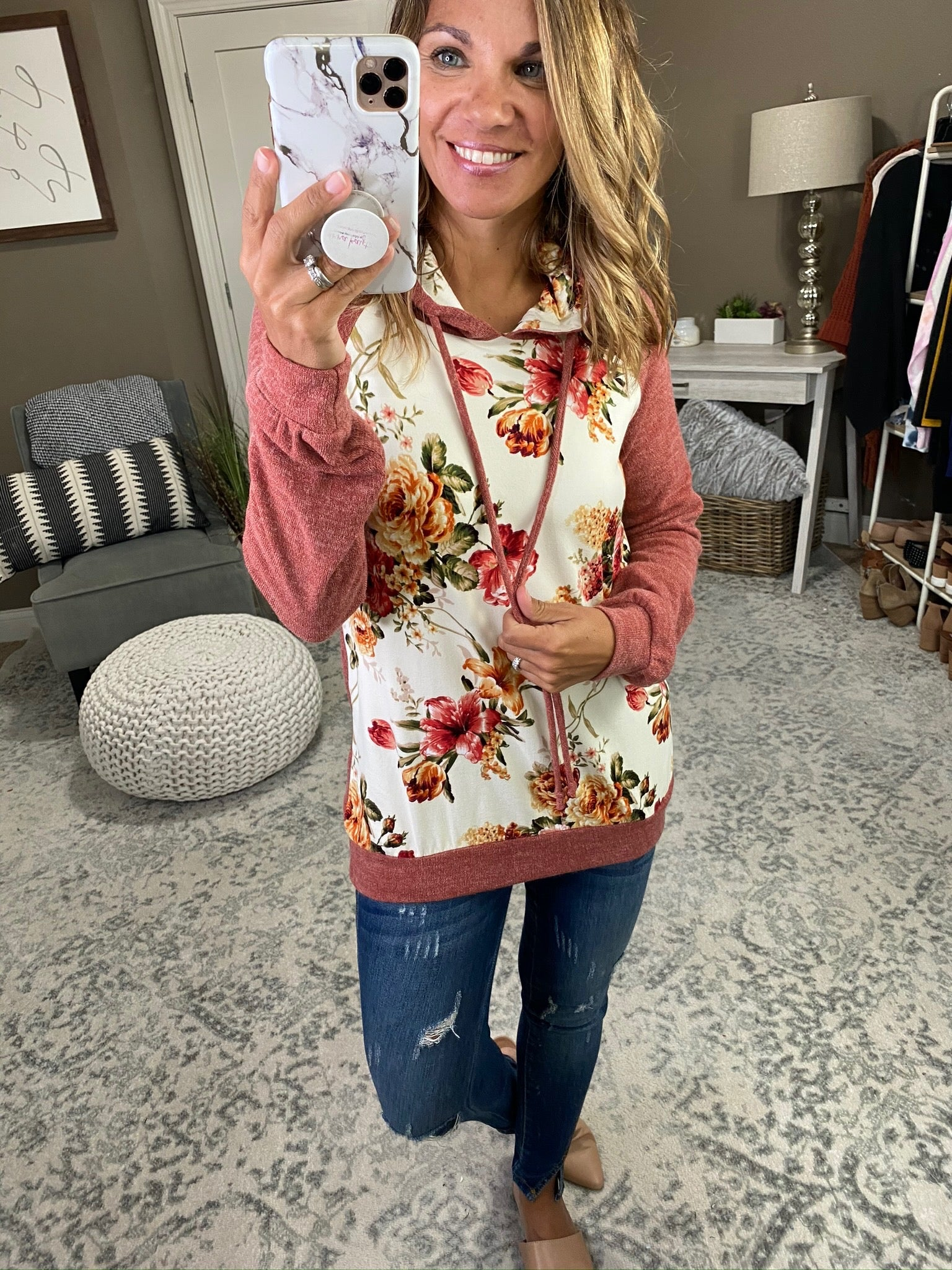 Pull Me Close Floral Hoodie with Knit Sleeves- Multiple Options