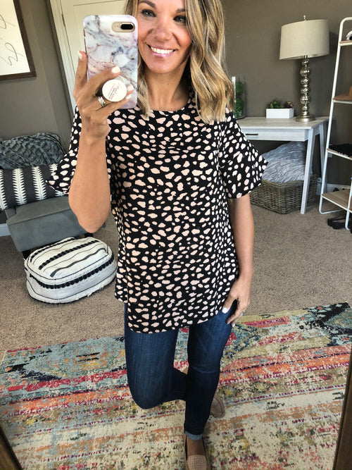 Fly Away Black with Beige Spots Blouse with Ruffle Sleeve and Back Keyhole