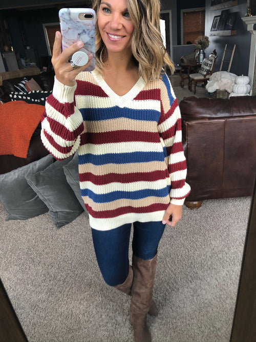 Fallin' In Love With Me Navy, Red, Cream Stripe Knit V-Neck Sweater