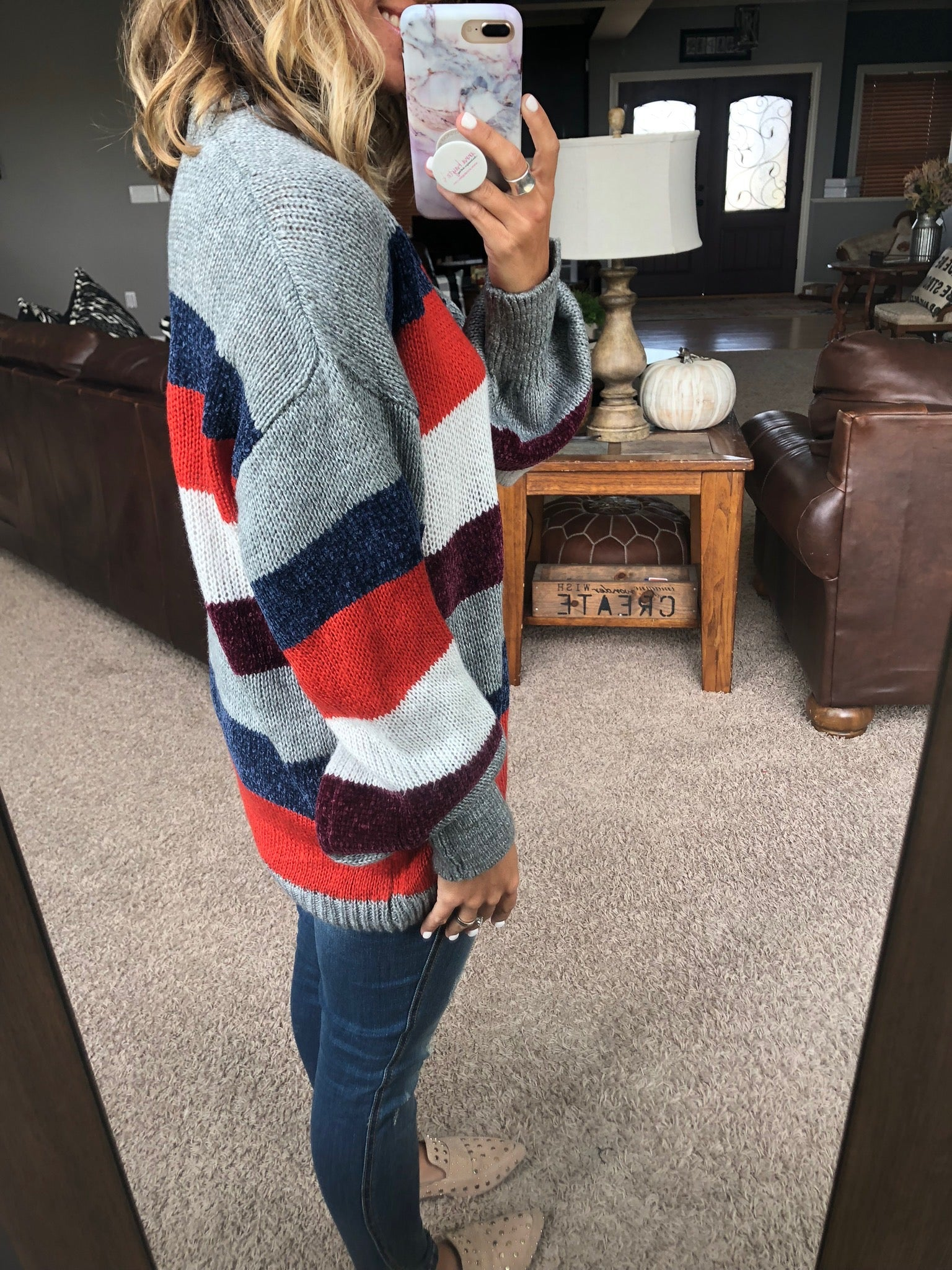 Feels Like Home Knit Sweater with Crushed Velvet Stripes