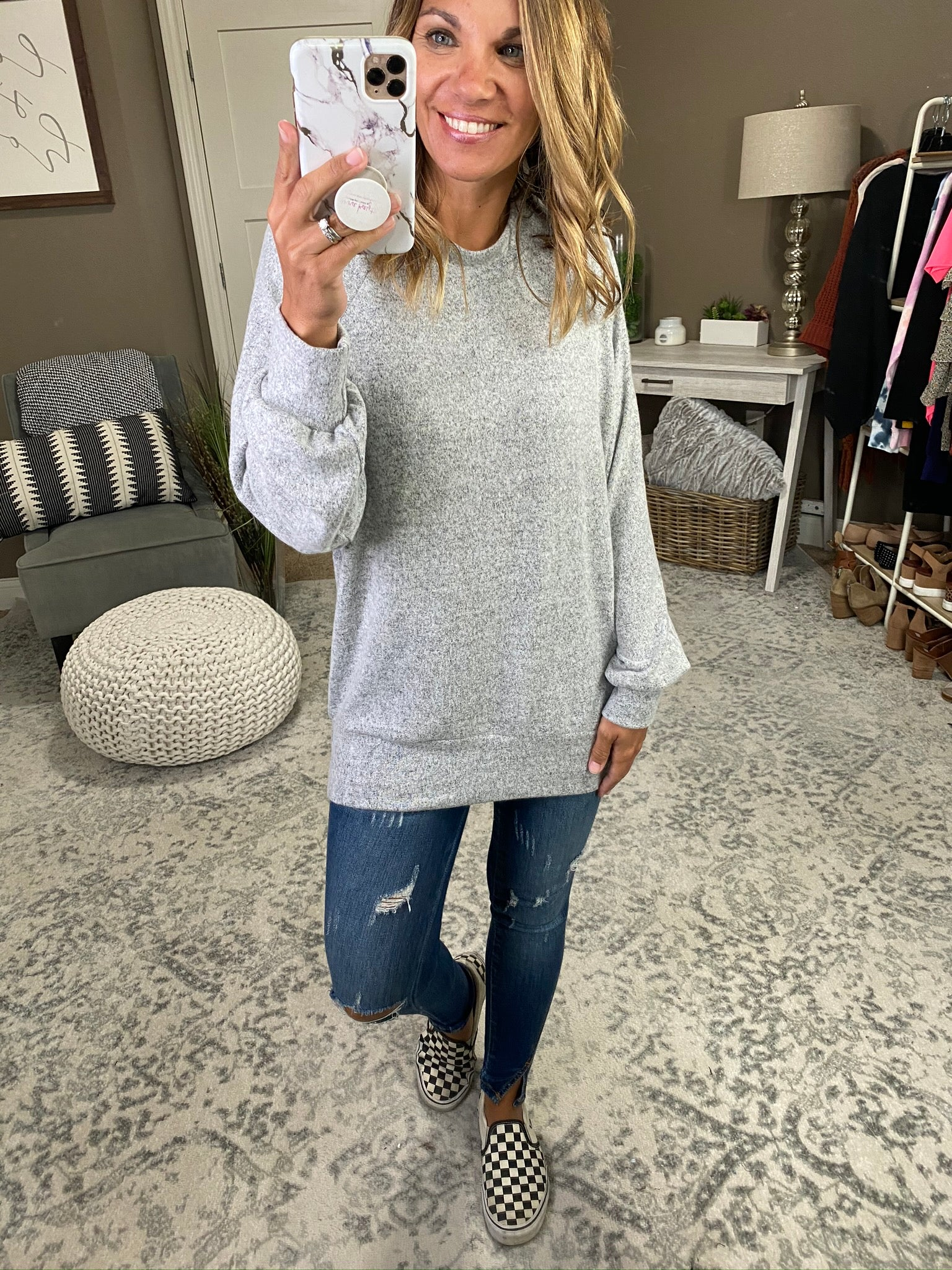 Living The Life Brushed Fleece Long Sleeve- Multiple Options