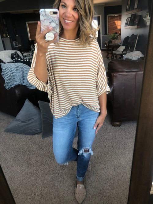 Small Town Night Mustard Stripe Dolman Top