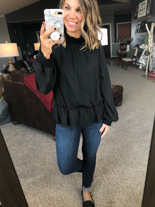 Set You Straight Black Blouse with Ruffle Cuffs and Mock Neck