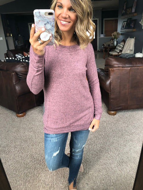 Lets Get Lost Brushed Fleece Off Shoulder Long Sleeve- Mauve
