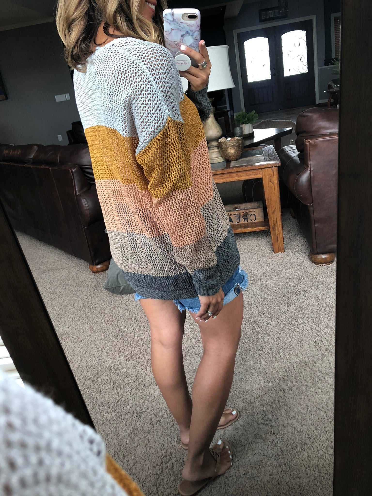 Always Here First Loose Knit Colorblock Sweater