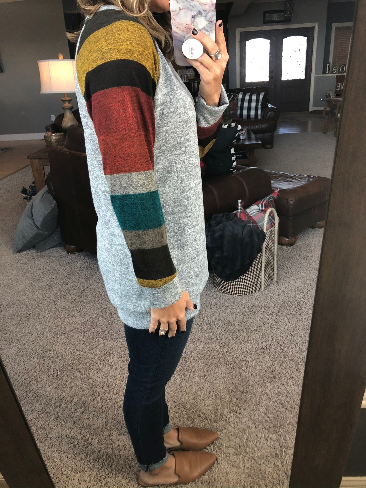 Falling For You Brushed Fleece Multi Color Sleeve