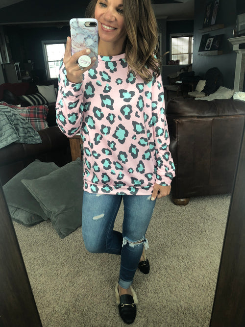On The Prowl Pink and Mint Leopard Print Long Sleeve