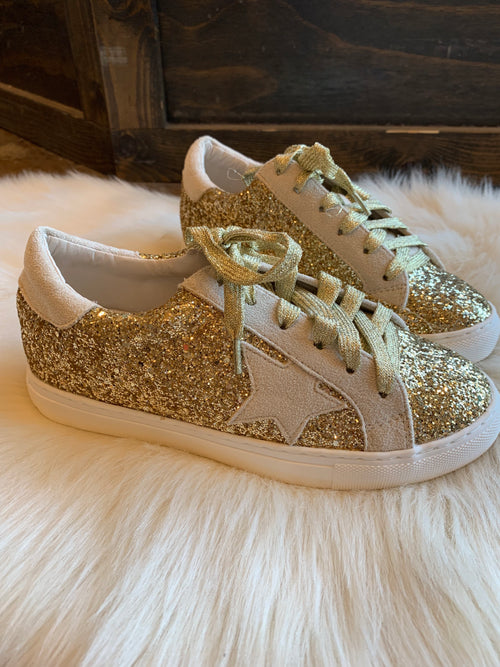 Give and Take Gold Glitter Sneakers