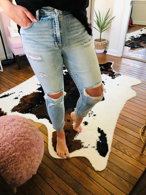 Worth The Wait Super High Rise Light Wash Distressed Girlfriend Cut Jean