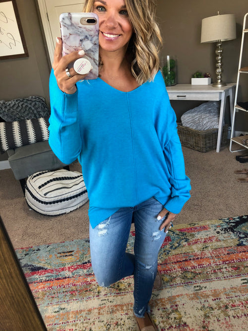 I Think I'm In Love Buttersoft V-Neck Exposed Seam Sweater- Turquoise