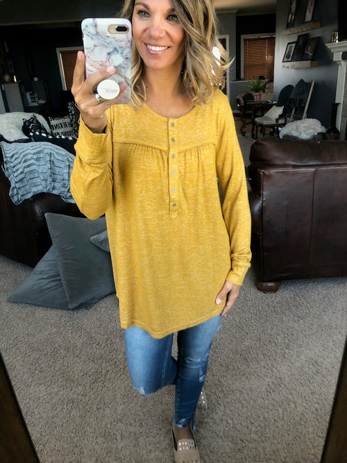 Ready To Roam Mustard Henley Long Sleeve