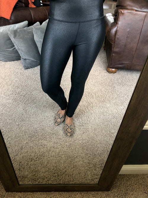 I Foiled Your Plan High Waisted pebble faux leather Leggings