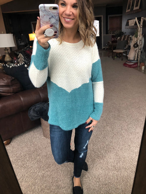 Ready For A Challenge Mohair Long Sleeve- Blue & Cream