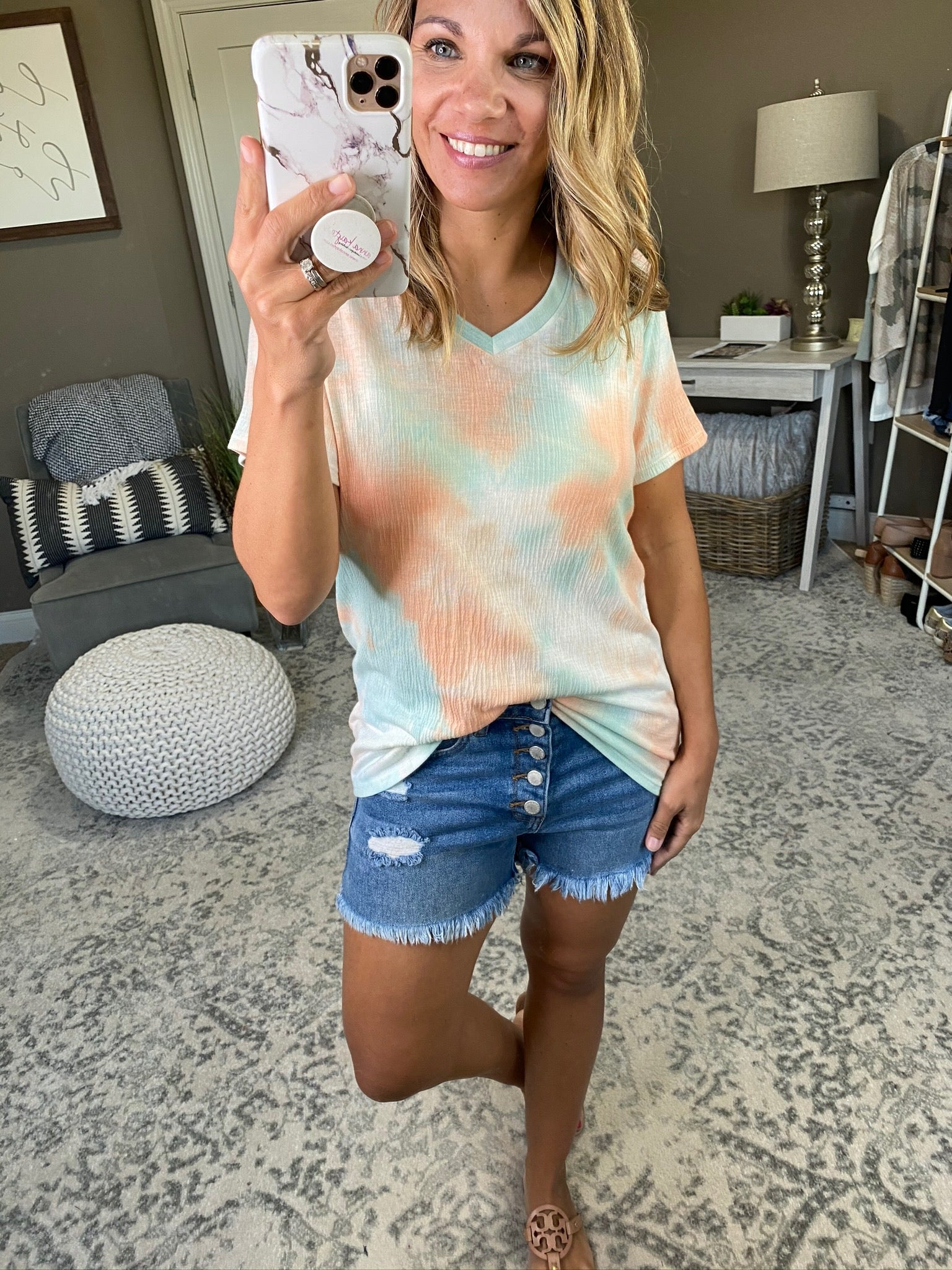 On Summer Time Peach and Blue Tie Dye Textured Tee