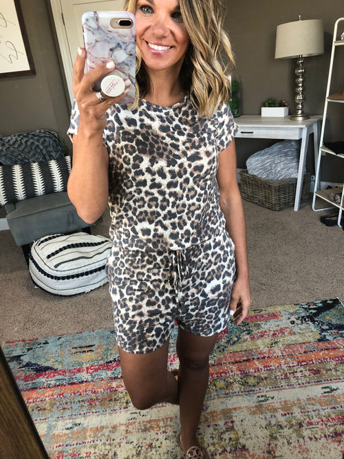 Cool Cats and Kittens Leopard Romper with Back Keyhole and elastic waist
