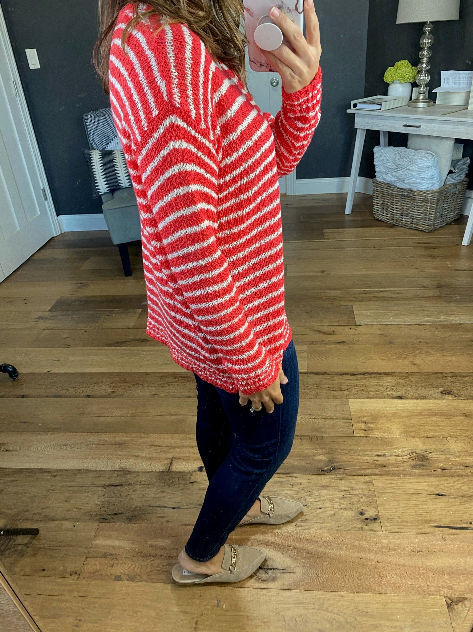 Draw The Line Striped V-Neck Loose Knit Sweater- Multiple Options
