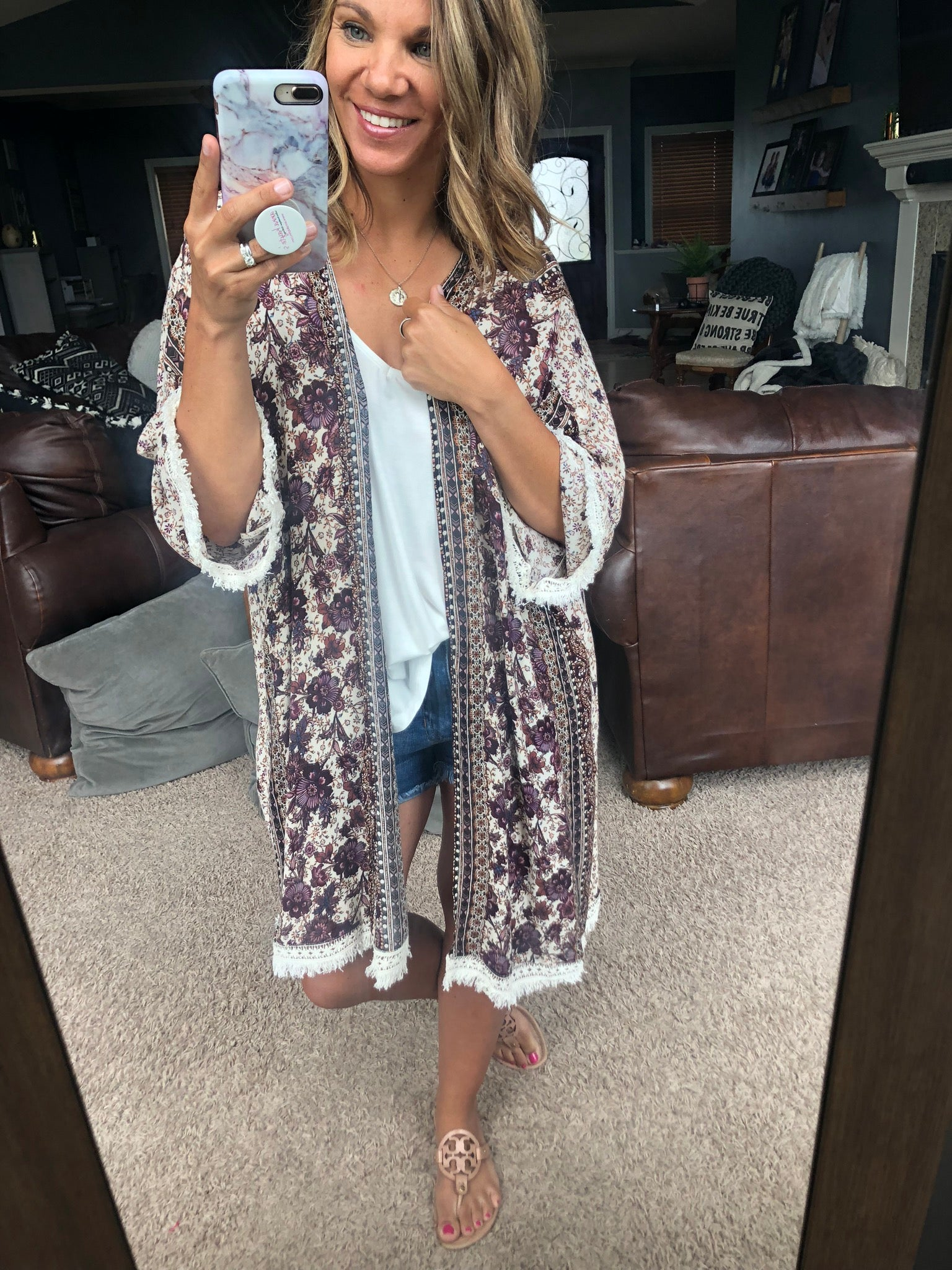 Love By The Moon Burgundy Floral Mix Kimono