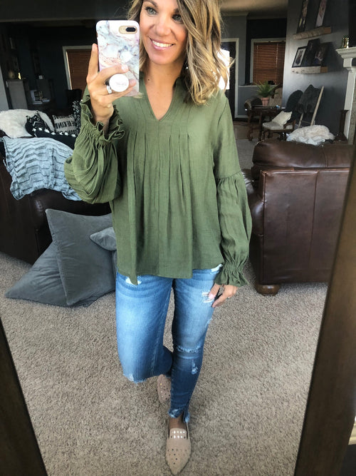 Neverland Olive Neck with Ruffle Long Sleeve