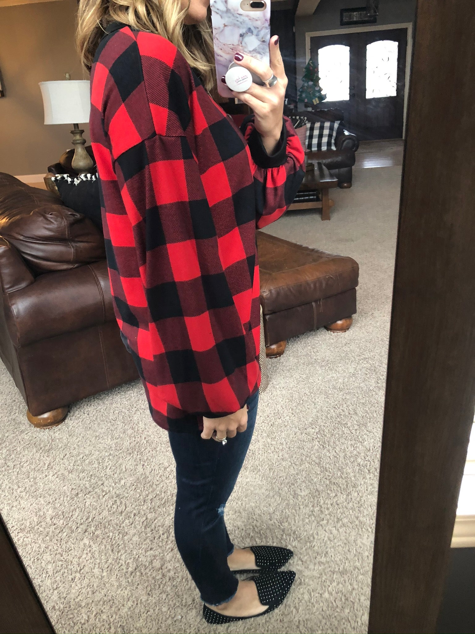Groundbreaking Buffalo Plaid w/Buttons Long Sleeve