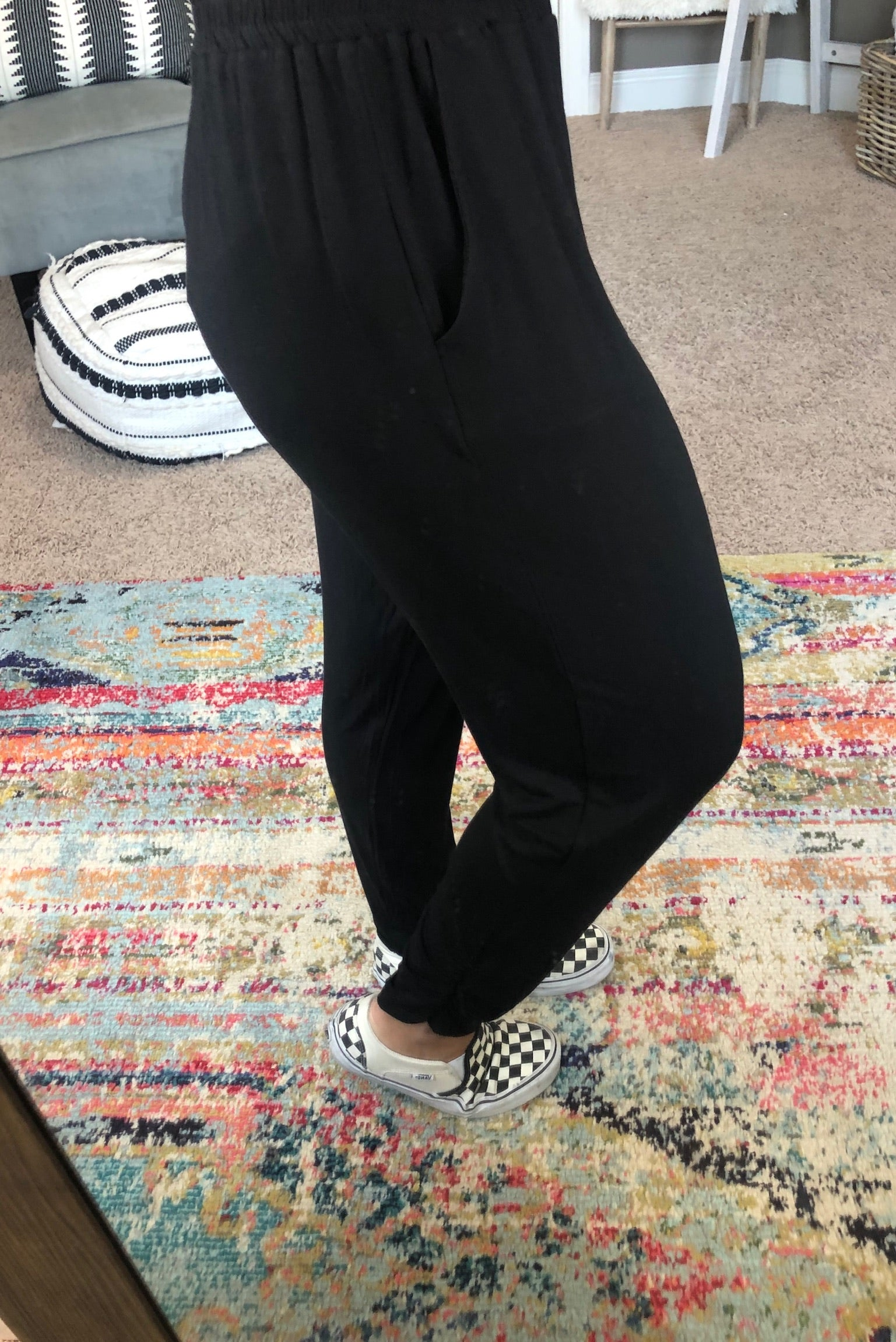 Can't Go Wrong Black Joggers with Elastic Waist Band & Ruching