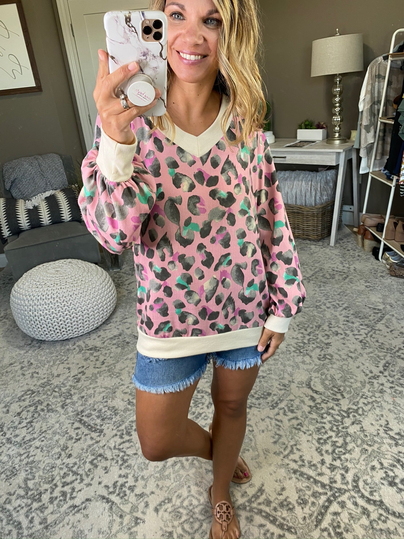 Party Animal Blush Double V-Neck Multi Color Cheetah Long Sleeve