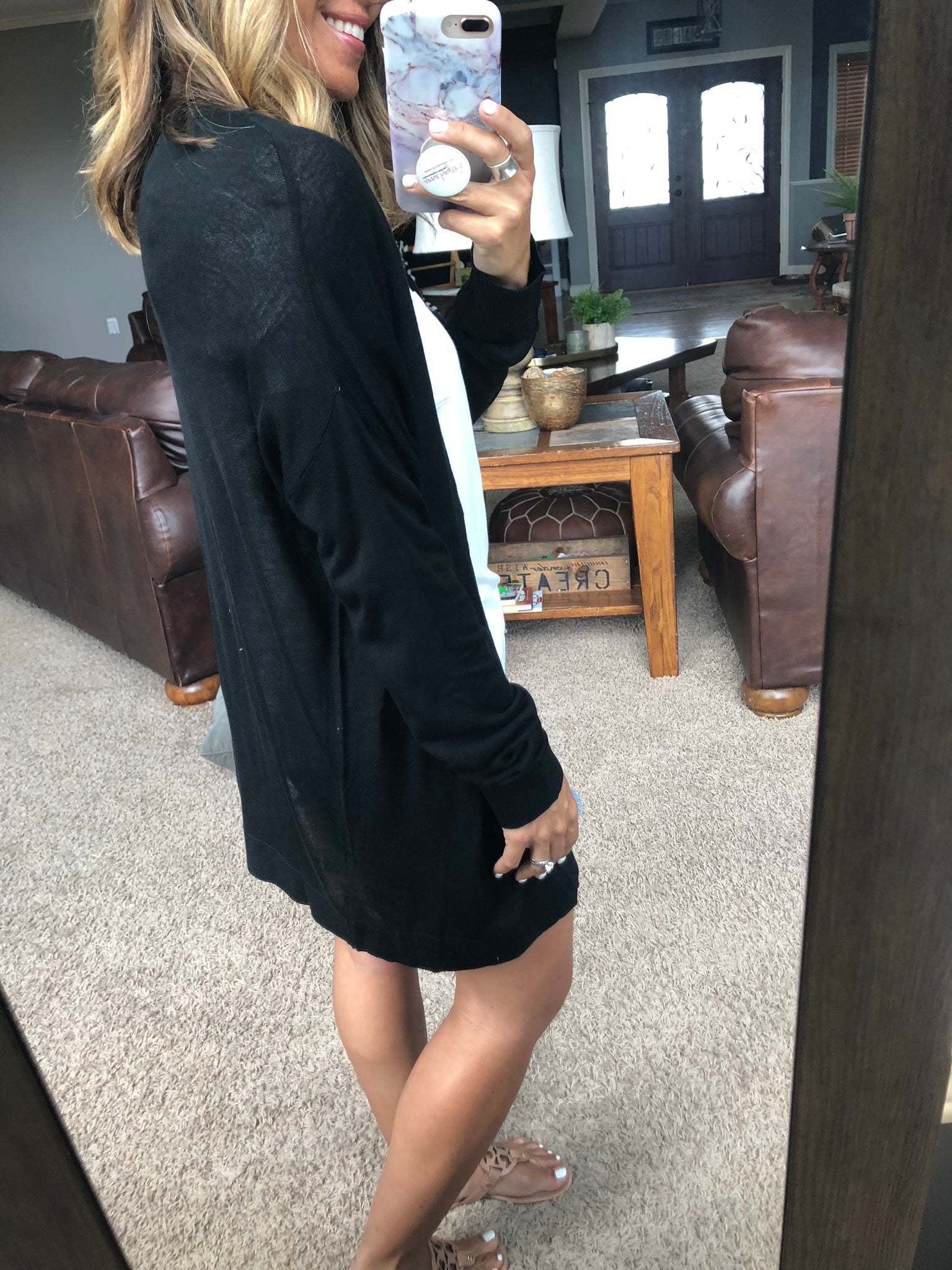 You're Worth It Lightweight Cardigan- Black
