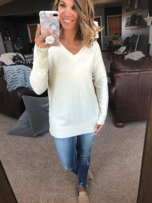Tryin To Catch My Breath Cream V-Neck Sweater
