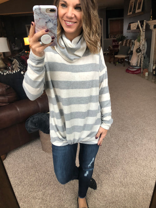 On The Short List Grey and Oatmeal Stripe Cowl Neck Long Sleeve