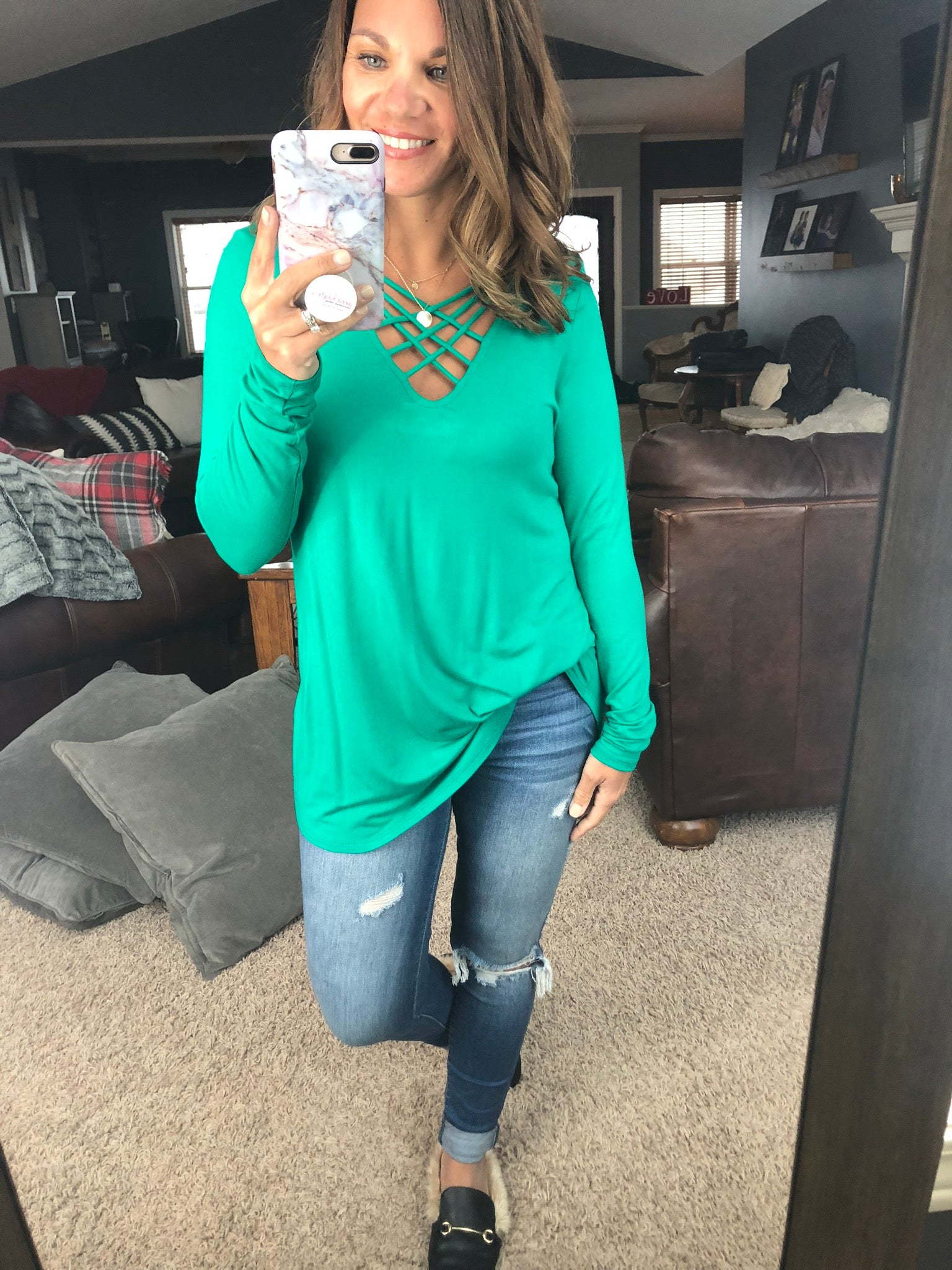 Cover Your Bases Criss Cross Long Sleeve Top - Green