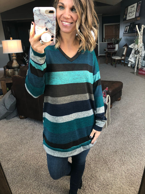 Ease Your Mind Blue Mix Striped V-Neck Tunic Long Sleeve with Pockets