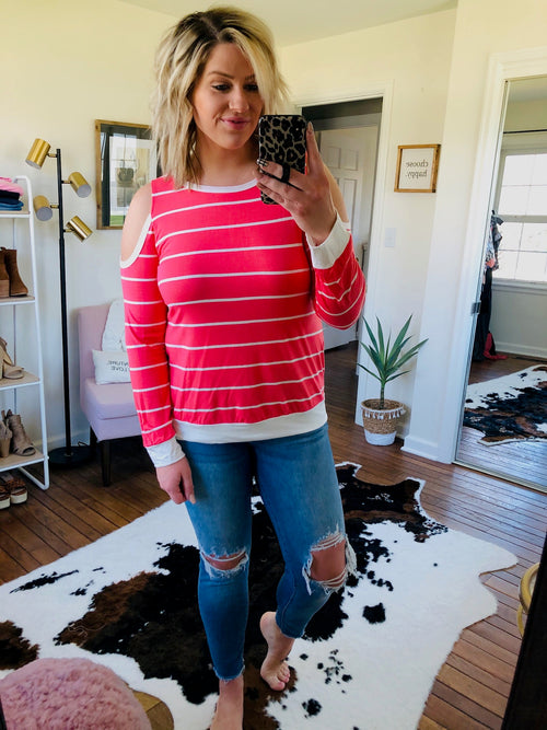 Sweet Summer Cold Shoulder Long Sleeve- Coral & Ivory