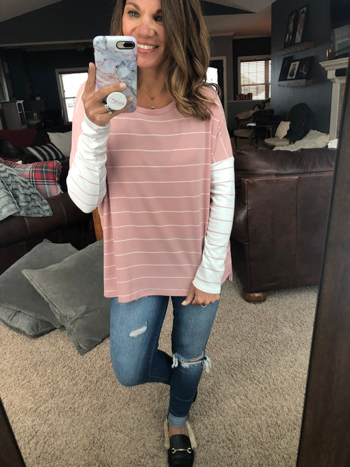Don't Hold Back Dusty Pink and Ivory Stripe Long Sleeve